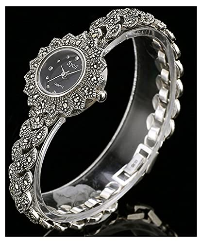 CHXISHOP Reloj de la Pulsera de Las Mujeres 925 Sterling Silver Quartz Movimiento Oval Inlaid Diamond Watch Black Gothic Retro Pulsera Reloj (S, M) Black-M