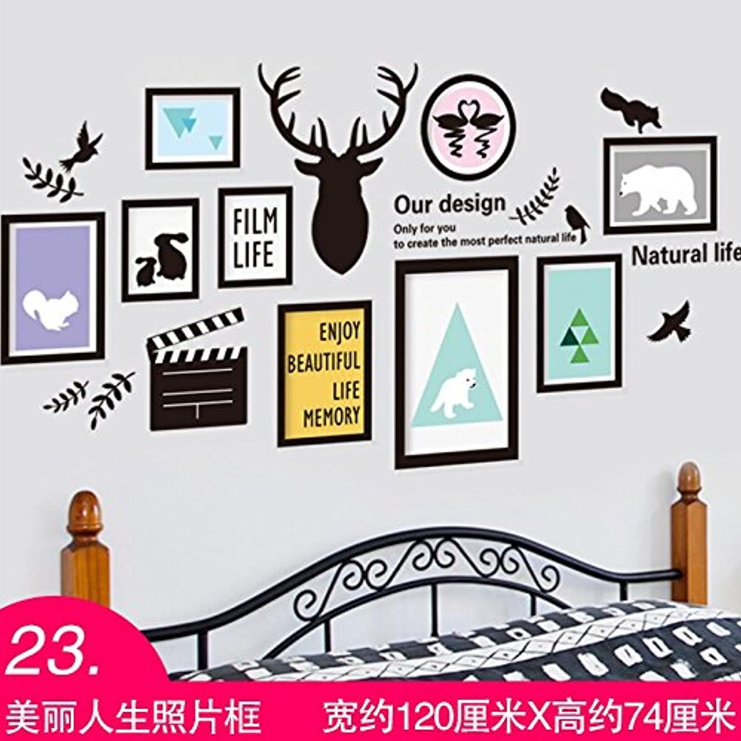 Znzbzt 3D Wall Sticker Bedroom Wall Decoration Background Waterproof Wallpaper, Beautiful Life Photo Frame
