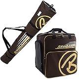 BRUBAKER Conjunto 'Super Champion 2.0' Bolsa para Botas y Casco de ski Junto a 'Carver Champion 2.0' Bolsa para un par de Ski - Marrón/Beige - 190 cms.