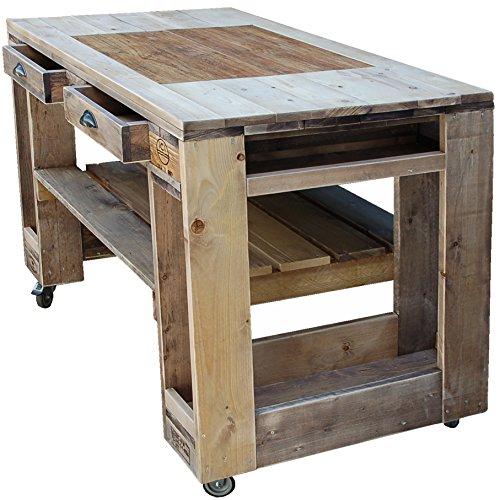 Palettenmöbel Grill-Tisch Captain Cook Premium-Stone, Neuholz gebeizt in klassischer Paletten Optik, jedes Teil ist einzigartig und Wird in Deutschland in Handarbeit gefertigt