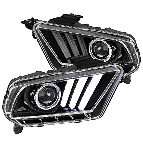 Spec-D Tuning Sequential Led Signal & Bar Jet Black Projector Headlights for 2010-2014 Ford Mustang Head Light Assembly Left + Right Pair
