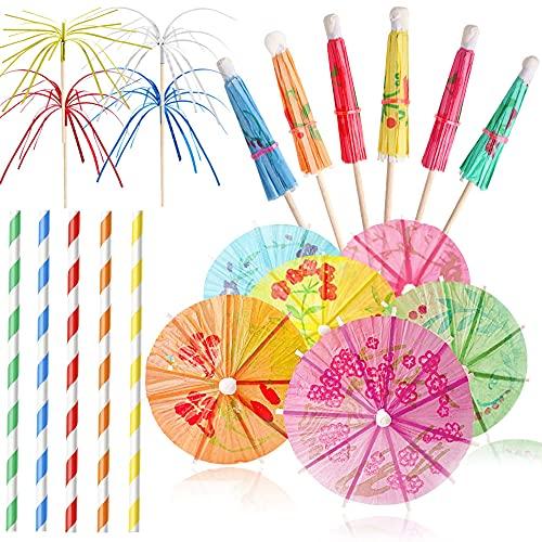 Set di 200 decorazioni per cocktail party, include spiedini in legno di bambù naturale, cartine d'artificio di carta per ombrelli di carta, per bar, matrimoni, compleanni