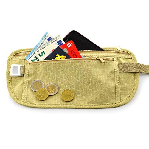 Outdoor Army Bauch-Tasche / Gürtel-Tasche / Hüft-Tasche / Geldbörse / Geldbeutel / Geldgürtel für Damen und Herren mit 2 ultraflschen praktischen Taschen für beispielsweise Handy, Karten und Bargeld