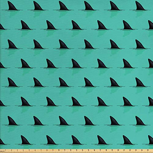 Lunarable Marine Fabric by The Yard, Shark Fins in The Sea Danger in Ocean Scary Creature Swimming Illustration, Decorative Fabric for Upholstery and Home Accents, 3 Yards, Seafoam Black