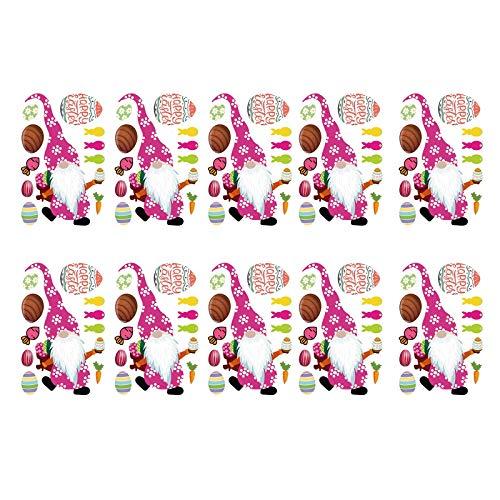 Decoraciones de Pascua, enano DIY transferencia de calor pegatinas ropa de transferencia de calor calcomanías decoración adornos puerta pared pared pared fiesta ventana decoración hogar mejor regalo