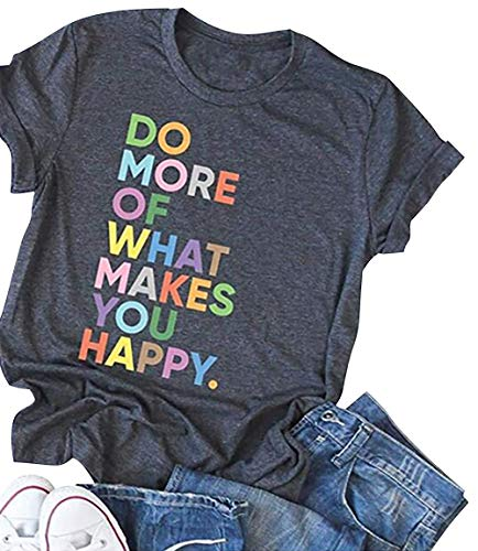 Women's Fun Happy Graphic Tees Cute Short Sleeve Letter Printed T-Shirts Tops(S,Dark Grey)