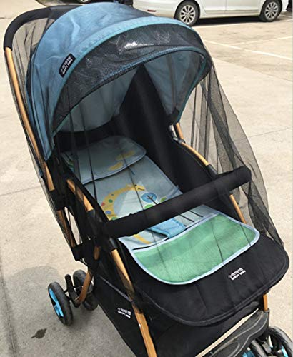 Baby Stroller Mosquito Bug Net Insect Netting Cover for Pram, Buggy, Infant Carriers, Car Seats, Cradles, Cribs, Bassinets, Playpens, Baby Stroller Bed Full Mesh Cover (Black)