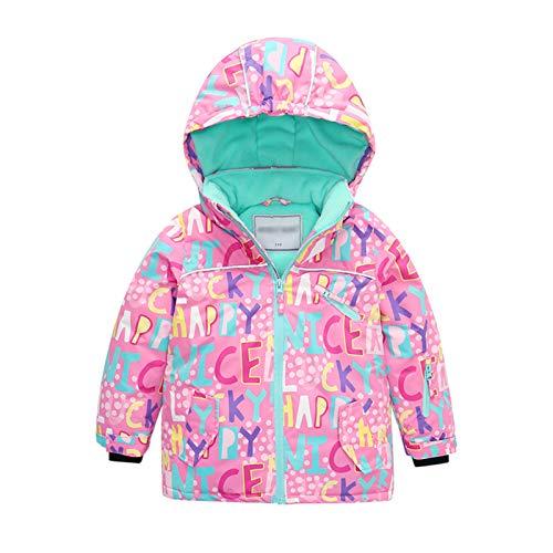 Gogokids Giacca da Sci per Bambine Tute da Neve per Bambini - Ragazze Cappotto Invernale con Cappuccio Tuta da Sci Foderata in Pile Giacca Antipioggia Impermeabile