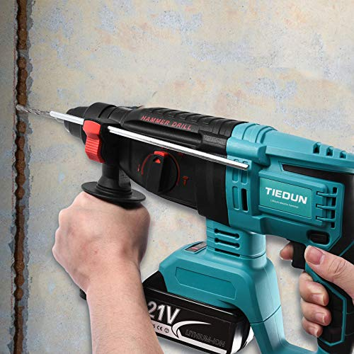 Electric Hammer Drill, Professional 21V Brushless Cordless Rotary Hammer with SDS Plus, 4 Modes Selector, 1,400 RPM Variable Speed Adjustable Handle Rotary Hammer Drill for Wood, Concrete, Steel