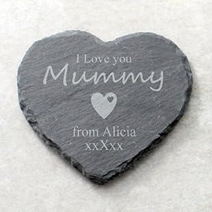 I Love You Mummy Personalised Heart Shaped Slate Coaster
