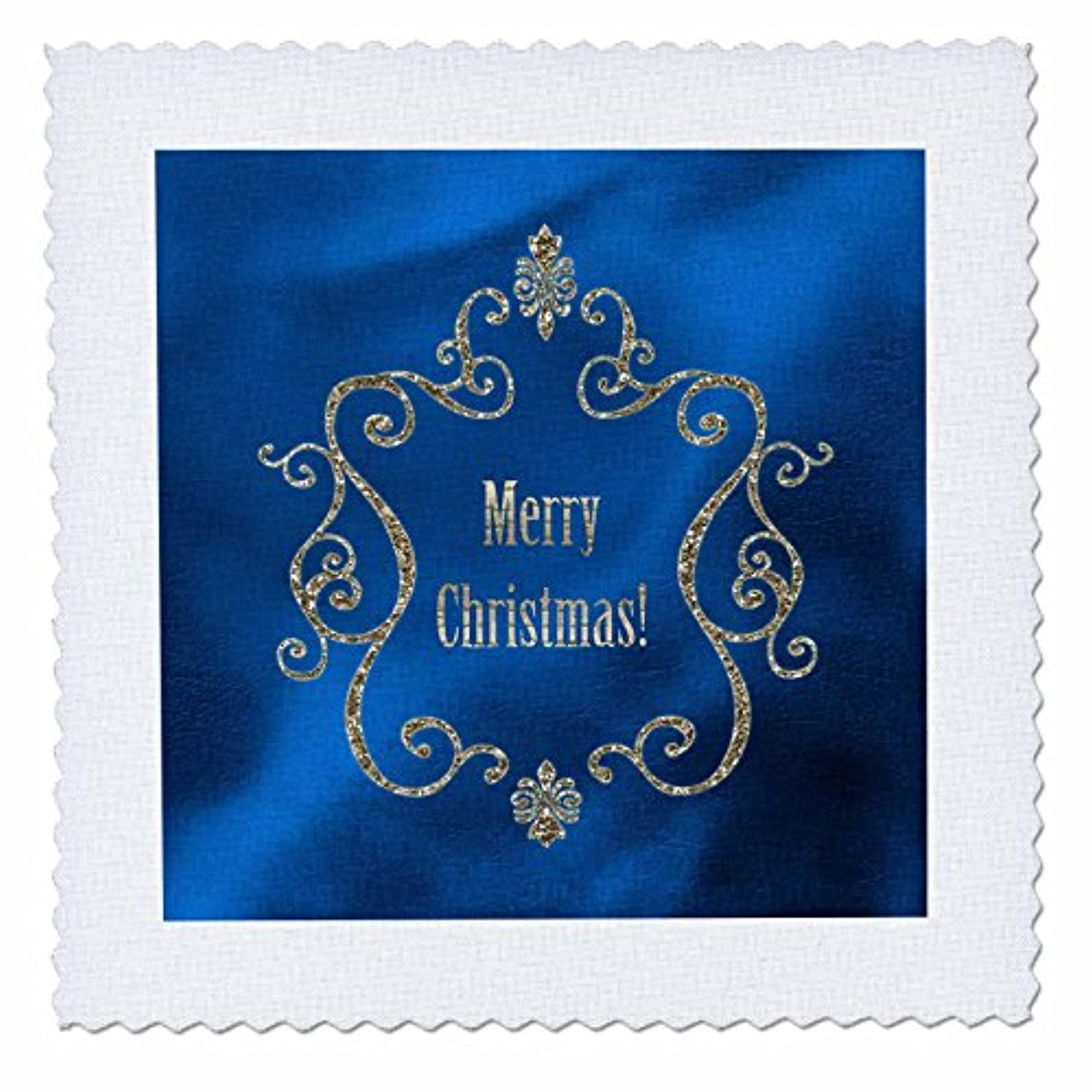 3dRose qs_167307_6 Elegant Gold Jewel Look Frame with Merry Christmas on Blue Quilt Square, 16 by 16-Inch