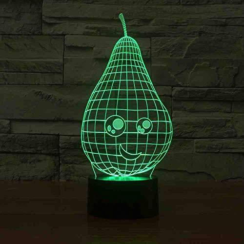 GZGNL Schöne birnenförmige nachtlicht 7 farbwechsel 3d led tisch schreibtischlampe cartoon figur kinderbett schlaf beleuchtung dekor geschenk