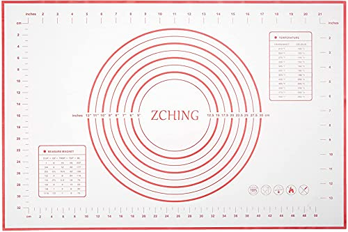 """ZCHING Silicone Pastry Measurement Not-Slip Rolling Dough Mats for Baking 24"""" x 16"""" (red), L W"""
