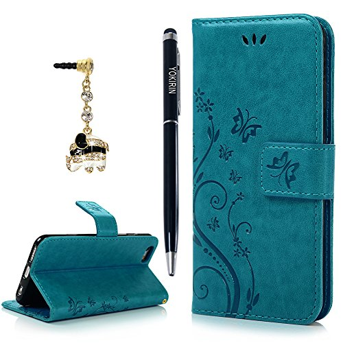 iPhone 6 Case, iPhone 6S Case, YOKIRIN Premium Soft PU Leather Notebook Wallet Cover Embossed Flower Butterfly with Wrist Strap Stand Function Card Holder and ID Slot Flip Folio Protective Skin, Blue