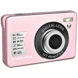 Digital Camera HD 1080P Vlogging Camera 30 MP Mini Cheap Camera 2.7 Inch LCD Screen Camera with 8X Digital Zoom Compact Cameras for Adult, Kids, Beginners (Pink)