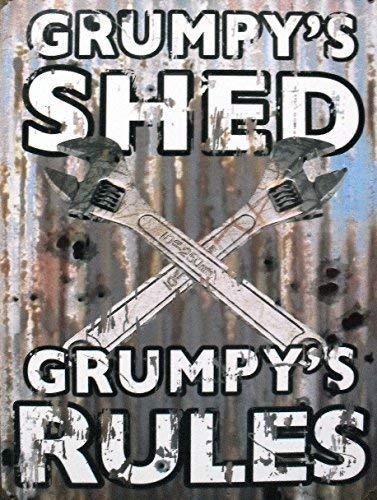 Vincenicy Metal Sign Great Aluminum Tin Sign GRUMPY'S SHED/SPANNERS GRUMPY'S Rules Sign 12' X 8'