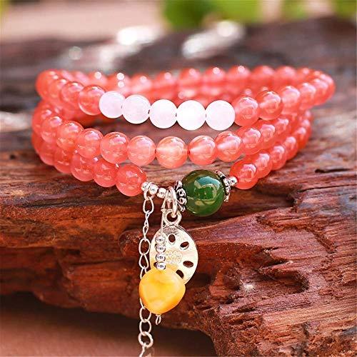 GIAOYAO Feng shui riqueza pulsera preciosa ágata rojo nanhong carnalian amuleto pulsera coleccionable buddha cuentas curativo cristal pulsera ámbar hetiano jade (jasper) tres capas collar regalos para
