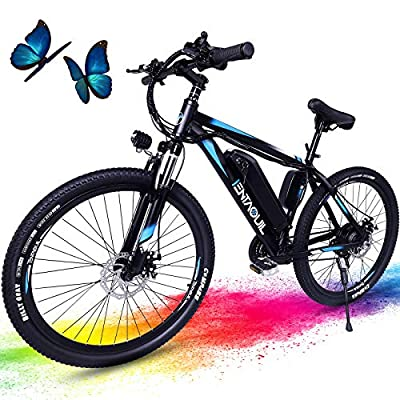 Tentaquil Electric Bike, 26'' Electric Bicycle for Adults 20MPH Ebike with Removable 36V Battery 280W Adult Electric Bikes Shimano 21 Speed Gears (Blue)