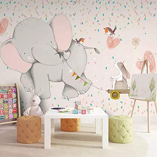 Tapete 3D FototapeteNette Kindertapete Mädchen Schlafzimmer Babyzimmer Tapete nahtlose Wand Tuch Cartoon Kindergarten Elefanten Wandbild200cm×140cm