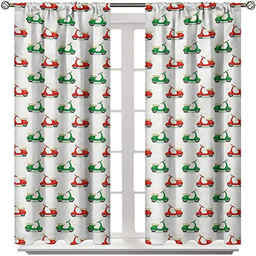 """Bedroom Curtain Motorcycle Soundproof Window Curtain Panels Vintage Scooters with Step-Through Frame on Display Lively Colors Spotlight 2 Rod Pocket Panels 52"""" W x 72"""" L"""