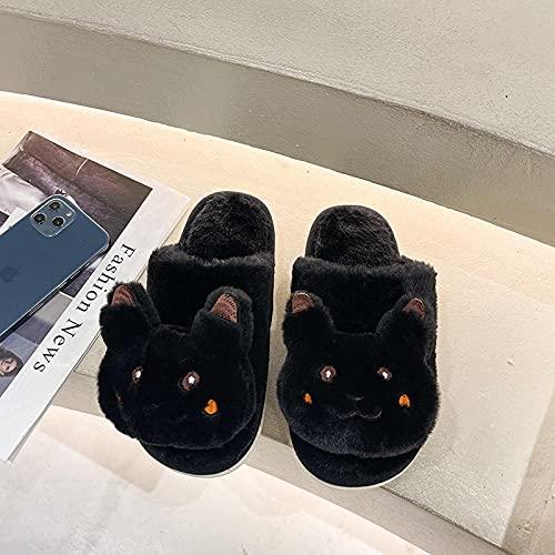 Perferct Zapatillas De Casa Mujer Cerradas,Zapatillas De Pelo Lindas De Dibujos Animados, OtoñO Femenino E Invierno con Zapatillas De Moda Antideslizantes.-Modelos De Mujeres_38_Negro