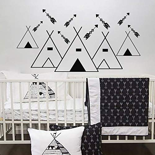 Tienda cónica flecha pegatinas de pared vinilo decoración del hogar niños habitación de bebé vivero geométrico de dibujos animados etiqueta extraíble mural 83x42 cm
