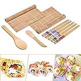 Kit Sushi Completo, FISHOAKY 9 Piezas Kit para Hacer Sushi, 2 Cintas de Correr, 5 Palillos Sushi, 2 Esterillas Bambú, 1 x Cuchara de Madera 1x Cuchara de Arroz