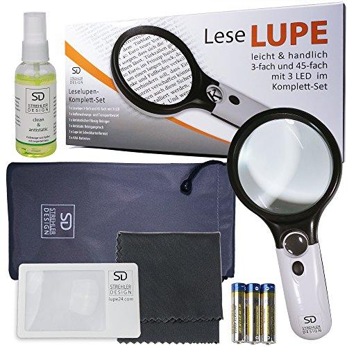 Profi Leselupe 6x Komplett-Set - Hochwertige LED Lupe mit Lese-Licht - 3x und 45x Vergrößerungsglas + Tasche inkl. Zubehör - für Senioren & zum Verschenken