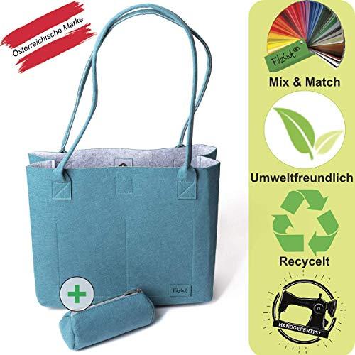 Shopper Greta Einkaufstasche Damen Filztaschen Shopper Handtasche groß Schultertasche, Petrol & Grau, M (15L)