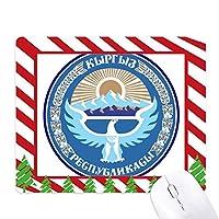 キルギスタンアジア国家エンブレム ゴムクリスマスキャンディマウスパッド