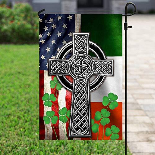 Flags-The Irish Celtic Cross Flag, House Flag (29.5' x 39.5')-USA House Garden Flags Premium Polyester-Decorative Outdoor Flags