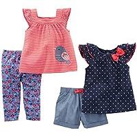 Simple Joys by Carter's - Conjunto - para bebé niña azul Navy Dot/Red Stripe Bird 24 Months