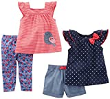 Simple Joys by Carter\s Baby Girls Baby 4-Piece Playwear Set, Navy Dot/Red Stripe Bird, 18 Months