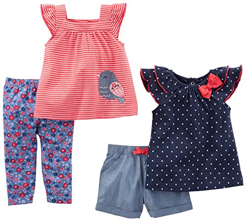 Simple Joys by Carter's Ensemble de 4 pièces pour bébé fille ,Navy Dot/Red Stripe Bird,6-9 Months