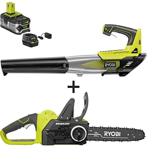 Review RYOBI P549-BLW ONE+ 12 in. 18-Volt Brushless Lithium-Ion Electric Cordless Chainsaw and Leaf ...