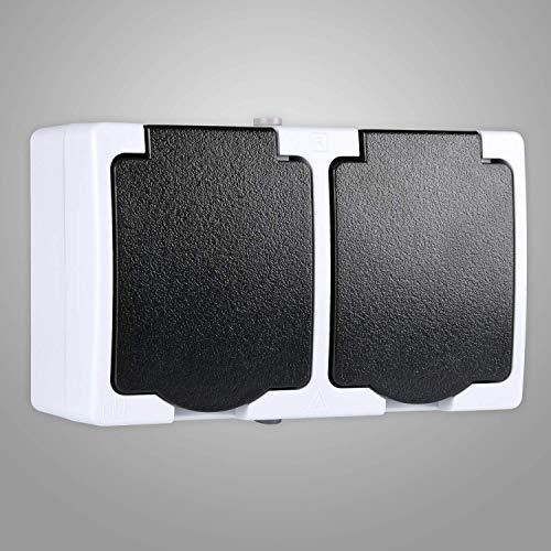 HEITECH Aufputzsteckdose für Feuchtraum IP44-2fach Aufputz Schutzkontakt Steckdose AP mit Klappdeckel - Schutzkontaktsteckdose mit Kindersicherung 250V 16A 2 polig