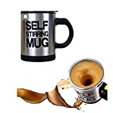 Mengshen Self Stirring Mug Travel Coffee Cup Tazas Kettle Mixer Shaker Steel Stainless 400ml, MS-A004A Black