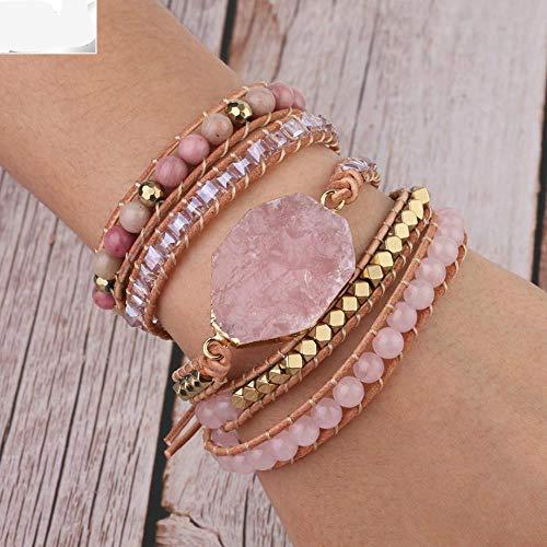 ASIG Natuurlijke Steen Armband Roze Quartz Lederen Wrap Armbanden voor Vrouwen Rose Gems Kristal Kralen Bohemen