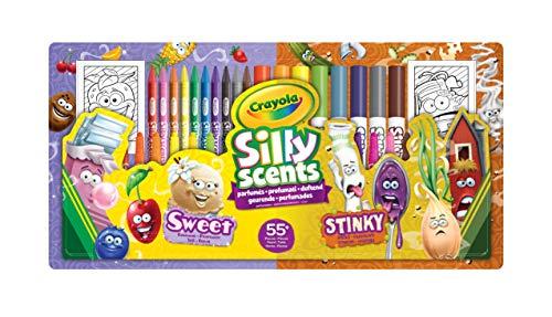 Crayola - Silly Scents, Set Attività Coloring Profumelli & Puzzarelli, 55+pezzi, Pennarelli, Matite, Pastelli Profumati, età 3+, 04-0642