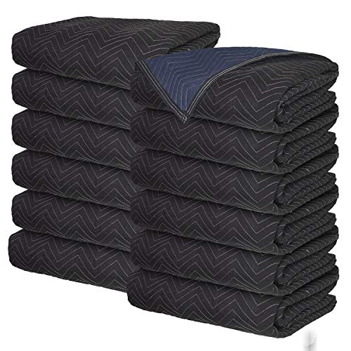 Moving Blankets - Professional Packing Shipping Moving Pads - Cheap Cheap Moving Boxes (Supreme Blankets (65 lb/dz) - 12 Pack)