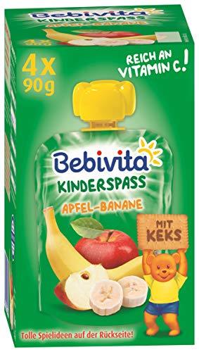 Bebivita Kinder-Spaß Frucht & Keks Apfel-Banane mit Keks, 4er Pack (4 x 90 g) DA19101-01