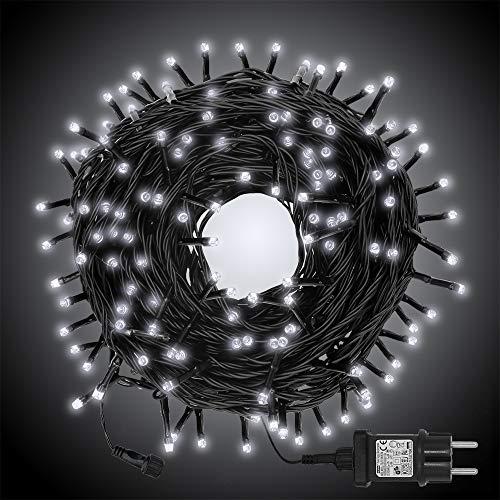 LED Lichterkette für Innen und Außen, Größe: 200 250 500LEDs, Warmweiß/Kaltweiß Weihnachtsbeleuchtung, Außenbeleuchtung IP44 Wasserdicht mit 8 Leuchtmodi für Garten, Terrasse, Baum, Hochzeit