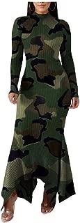 neveraway Women Turtleneck Nightclub Styles Long Sleeve Camo Club Dress