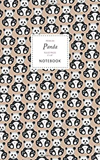 Panda Notebook - Ruled Pages - 5x8 - Premium: (Brown Edition) Fun notebook 96 ruled/lined pages (5x8 inches / 12.7x20.3cm ...