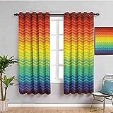 MENGBB Blickdicht Vorhang Kinderzimmer Mikrofaser - Regenbogen Wasserwellen Streifen Mode - Ösen 90% Blickdicht Gardinen - 200x160cm Mädchen Junge Schlafzimmer Wohnzimmer dekorativ