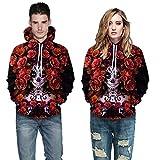Sweat-Shirt Couple Pas Cher AméLiorer Veste Femme Homme Fleurie Chic 3D Hoodies Imprimé Halloween CrâNe Manteau Hiver Grande Taille (Rouge, M)
