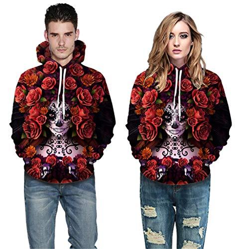 Heren Vrouwen Enge Halloween Tops - Liefhebber 3D Print Ghost en Bloem Nieuwe Hoodie Sweatshirt - Lange Mouw Casual Shirt Blouse