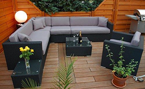 Ragnarök-Möbeldesign PolyRattan Lounge DEUTSCHE Marke - EIGNENE Produktion - 7 Jahre GARANTIE Garten Möbel incl. Glas und Polster (schwarz) Gartenmöbel - 5
