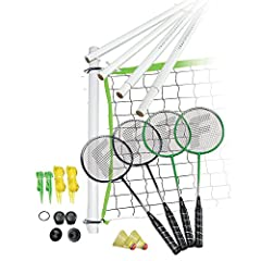 "BACKYARD OR BEACH FUN begins with this complete Badminton set INCLUDES: 20' X 1.5' X 1.5"" all weather net. Poles are 1.25"" diameter octagon PVC and 61"" long assembled height (4) ""Tight String"" tempered steel racquets with ""soft touch"" padded grip and..."