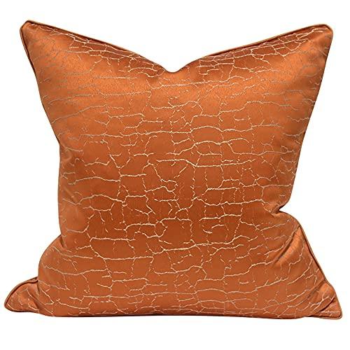 QXbecky Fundas de Cojines Funda de Almohada Cuadrada de Alta precisión de Estilo de Lujo Ligero con patrón de grieta Naranja (sin núcleo) decoración de sofá Minimalista Moderna 50 cm